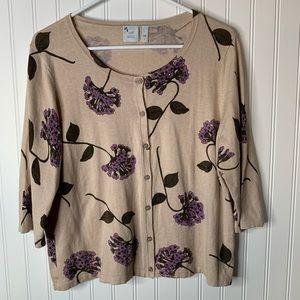 J. Jill brown floral cardigan sweater size L